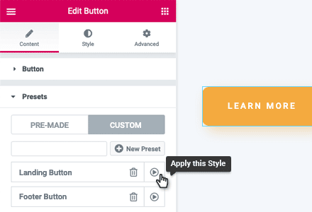 custom reusable elementor widget styles wunderwp